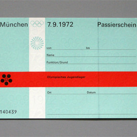 Munich Olympic - Jugendlager Passierschein (Youth Group Pass), Designed by Otl Aicher, 1972