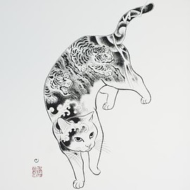 Monmon Cats - Tiger Cat Large Print