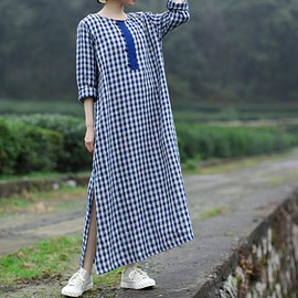 Blue plaid dress - Women maxi linen dress, Blue plaid dress, long linen dress, longsleeve dress, linen kaftan dress