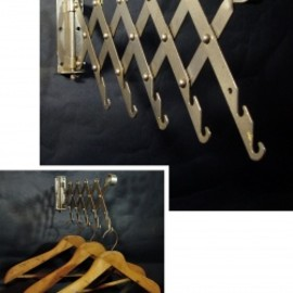 "1920's  ""Wood&Seel"" Wall Mount Folding Hanger Rack"