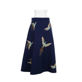 VALENTINO - Circle-cut skirt with bird embroideries
