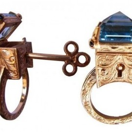 William Llewellyn Griffiths - Sterling Silver Engraved Topaz Locking Poison Ring with Key on Chain