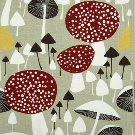 Almedahls - Mushroom Forest fabric vtg Almedahls Scandinavian DIY curtains cushion pillow