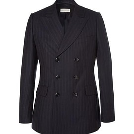 Dries Van Noten - Blue Slim-Fit Double-Breasted Pinstriped Wool Suit Jacket