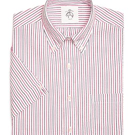 BLACK FLEECE BY Brooks Brothers - SEERSUCKER SHORT-SLEEVE SHIRT Navy-Red