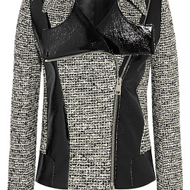 Bouchra Jarrar - Wool-blend tweed and faux patent-leather jacket