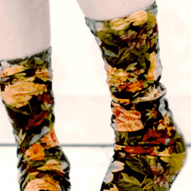 Strathcona Stockings - Black Floral Stockings