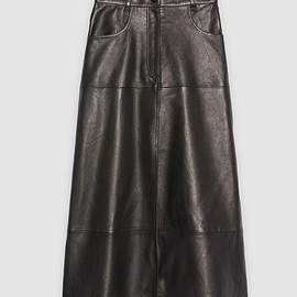 sandro - Long leather skirt with front slit : Skirts & Shorts color Black