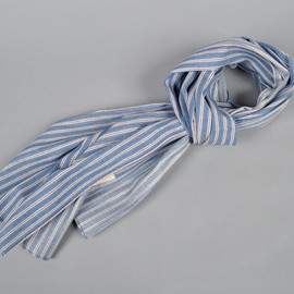 The Hill-Side - Selvedge Ticking Stripe Twill Scarf, Light Blue (S70-044)