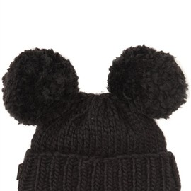 PIERS ATKINSON - COAL BLACK WOOL KNITTED BEANIE
