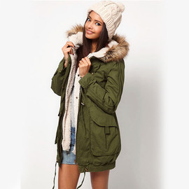 Army Green Zippers Drawstring Hooded Padded Jacket Thick Tunic Coat