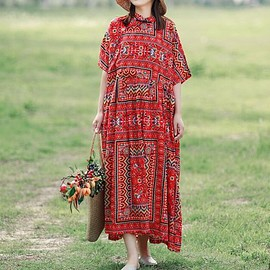Red flower - Cotton long dress in Red flower, loose cotton blue dress, Summer dress Women's robes boho dress