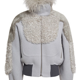 MARC JACOBS - FW2014 Pale Grey Bomber Jacket With Mixed Fur Detailing