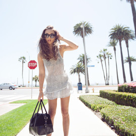 (Anine Bing charcoal print tank and skirt, Sunday Somewhere Chely sunglasses, The Kooples suede boots, Dylan Kain bag)
