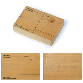 "Joseph Beuys - Wooden Postcard Joseph Beuys Sculpture serigraphy on spruce wood, Germany, 1974 10 x 15 x 3 cm, published by Edition Staeck, Heidelberg , unlimited Joseph Beuys Joseph Beuys ""Wooden Postcard"""