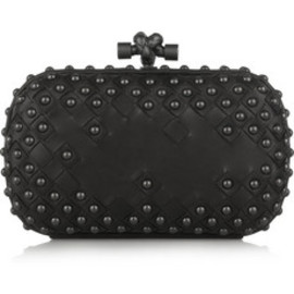 BOTTEGA VENETA - Waxy studded intrecciato leather box clutch