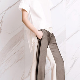 CELINE - White cotton-taffeta shirt, silk-blend trousers