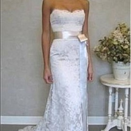 Vintage Strapless Lace Floor Length Wedding Dress WD1228