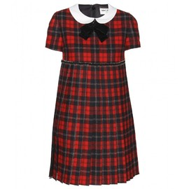 Saint Laurent Paris - EMBELLISHED TARTAN WOOL DRESS