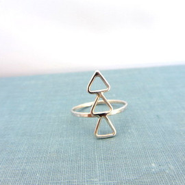 lunahoo - Sterling silver triple delta triangle band ring, Statement ring.