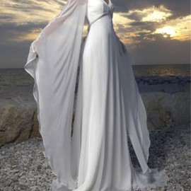 New Custom White/Ivory Chiffon Long Vintage Beach Wedding Dress Bridal Gown