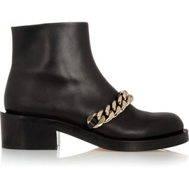 GIVENCHY - Ankle boots with Gold Metal Chain in Black Leather