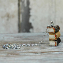 Peg and Awl - Stacks Book Necklace: Indian Summer Trio, reclaimed leather, silver.