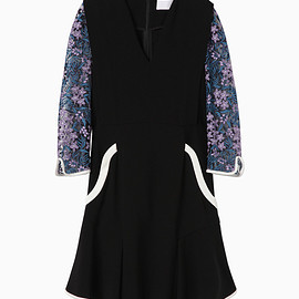 mame - Tulle Embroidered Sleeve Dress - black