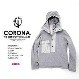 COLONA - KA024 CORONA NAVY PARKA / HEAVY WEGHT SWEAT プルオーバーパーカー:アクセプト accept