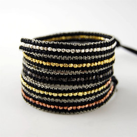 CHAN LUU - Wrap Bracelet on Black Leather with Silver Chain