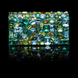 PRADA - SATIN CLUTCH WITH APPLIED COLORED STONES