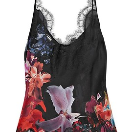 Carine Gilson - Lace-trimmed printed silk-satin camisole