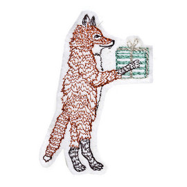 Coral and Tusk - Fox with Present Ornament