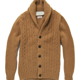 KITSUNÉ - CABLE KNIT SHAWL COLLAR CARDIGAN