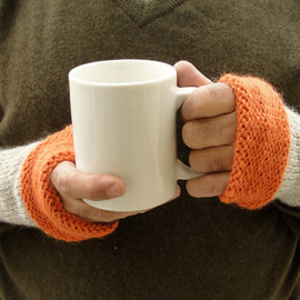 lostanfound - Guys Sporty Two Tone Knit Fingerless Gloves/ Wrist Warmers