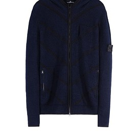 Stone Island - Sweater 504A5 TELEPORT ZIP HOODIE _ WINTER COTTON/NYLON WITH NYLON INTARSIA