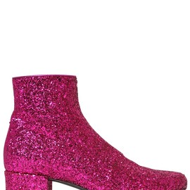 SAINT LAURENT - FW2014 40MM BABIES GLITTERED LEATHER ANKLE BOOT