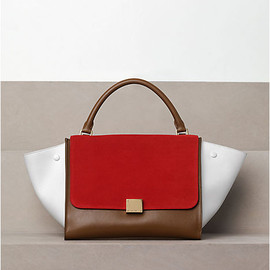 CELINE - TRAPEZE IN SUEDE AND CALFSKIN IN VERMILION