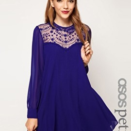 Image 1 ofASOS PETITE Swing Dress With Lace Insert And Peter Pan Collar