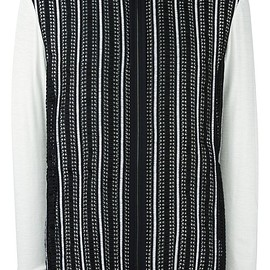 Lanvin - zipped stripe pattern cardigan