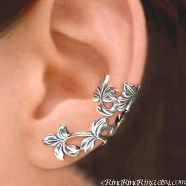 RingRingRing.etsy.com - 925. Spring Leaf branch - Sterling Silver ear cuff earrings, Non pierced earcuff jewelry 110412