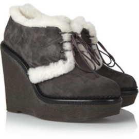 Yves Saint Laurent - Shearling-lined suede ankle boots