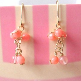 Luulla - Dreamz Come True Earrings - 14K Gold, Pink Coral, Cherry Quartz