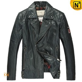 cwmalls - Distressed Leather Motorcycle Jacket Mens CW850211
