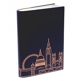 NATURAL HISTORY  MUSEUM uk - Handmade recycled leather London skyline A6 notebook