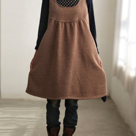 reddish brown Cotton Oversize Loose Long Hooded dress winter bottoming dress
