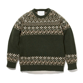 white mountaineering - OWL PATTERN JACQUARD ROUND NECK KNIT