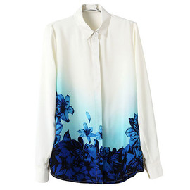 fashion - Image of [grxjy560850]Blue Flowers Print White Button Down Shirt Blouse Tops
