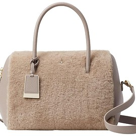 Kate Spade - Knollwood Drive Mega Lane Tan Shearling Wool Satchel