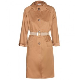miu miu - COTTON COAT WITH ELASTICATED BELT